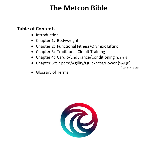 the metcon bible table