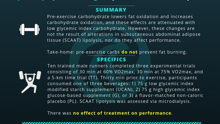 Adipose Lipolysis Unchanged by Pre-Exercise Carbohydrates