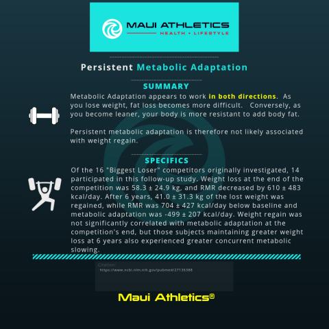 Persistent Metabolic Adaptation