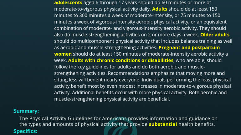 The Physical Activity Guidelines for Americans